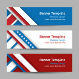 Set of modern vector horizontal banners, page headers with stripes and stars in the colors of the American flag. Stock Image