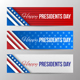 Set of modern vector horizontal banners, page headers with text for Presidents Day. Banners with stripes and stars Royalty Free Stock Photography