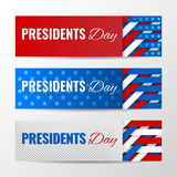 Set of modern vector horizontal banners, page headers with text for Presidents Day. Banners with stripes and stars Royalty Free Stock Photo