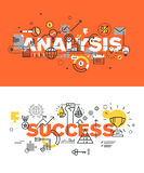 Set of modern vector illustration concepts of words analysis and success Royalty Free Stock Photos