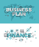 Set of modern vector illustration concepts of words business plan and finance. Thin line flat design banners for website and mobile website, easy to use and Stock Photos