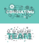 Set of modern vector illustration concepts of words consulting and team. Thin line flat design banners for website and mobile website, easy to use and highly Royalty Free Stock Photography
