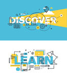 Set of modern vector illustration concepts of words discover and learn Royalty Free Stock Photo