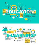 Set of modern vector illustration concepts of words education and e-learning Royalty Free Stock Photos