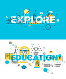 Set of modern vector illustration concepts of words explore and education Stock Images