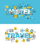 Set of modern vector illustration concepts of words hotel and travel Royalty Free Stock Photography