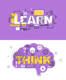 Set of modern vector illustration concepts of words learn and think Stock Photo