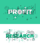 Set of modern vector illustration concepts of words profit and research Royalty Free Stock Photography