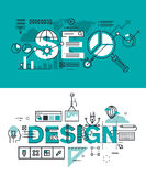 Set of modern vector illustration concepts of words SEO and design Stock Images