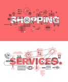 Set of modern vector illustration concepts of words shopping and services Stock Photo
