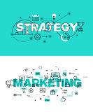 Set of modern vector illustration concepts of words strategy and marketing. Thin line flat design banners for website and mobile website, easy to use and Royalty Free Stock Photography