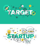 Set of modern vector illustration concepts of words target and startup Royalty Free Stock Image