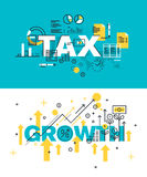 Set of modern vector illustration concepts of words tax and growth Stock Photo