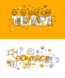 Set of modern vector illustration concepts of words team and contact Stock Photos