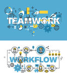 Set of modern vector illustration concepts of words teamwork and workflow Stock Photos