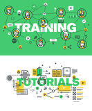 Set of modern vector illustration concepts of words training and tutorials. Thin line flat design banners for website and mobile website, easy to use and highly Royalty Free Stock Photography