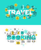 Set of modern vector illustration concepts of words travel and booking Stock Image