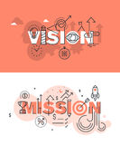 Set of modern vector illustration concepts of words vision and mission Stock Images