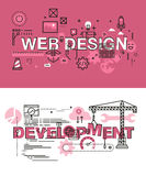 Set of modern vector illustration concepts of words web design and development Stock Image