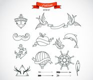 Set of modern vector Tattoo Art Royalty Free Stock Image