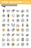 Set of modern vector thin line ecology icons Royalty Free Stock Image