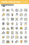 Set of modern vector thin line education icons Royalty Free Stock Photos