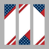 Set of modern vector vertical banners, page headers with stripes and stars in the colors of the American flag. Material design banners for Presidents day, USA Stock Photography