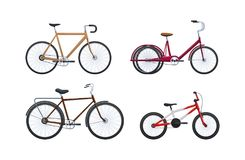 Set of modern vehicles for transportation, different city bicycles. Stock Photography
