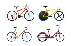 Set of modern vehicles for transportation, different city bicycles. Stock Photo