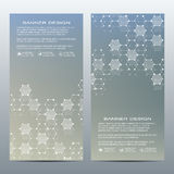 Set of modern vertical scientific banners. Molecule structure of DNA and neurons. Abstract background. Medicine, science Royalty Free Stock Image