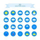 Set of 20 weather icons Flat vector icons on blue background. Set modern weather symbols. Flat vector icons on blue background vector illustration