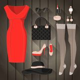 Set of modern young woman. Royalty Free Stock Photo