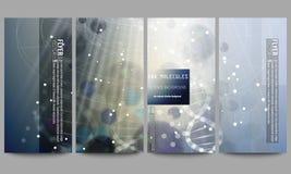 Set moderne Flugblätter DNA-Molekülstruktur auf dunkelblauem Hintergrund Wissenschaftsvektorhintergrund Lizenzfreie Stockbilder