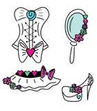 Set modnej odzieży ikony Fotografia Royalty Free