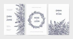 Set modni ślubni zaproszenie szablony dekorował z eleganckimi paprociami, dzikimi ziele i zielnymi roślinami na bielu, ilustracja wektor
