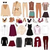 Set modny kobiety ` s odziewa Strój kobiety kurtka, ilustracja wektor