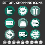 Set 9 modnych zakupów ikon Obraz Stock