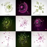 Set of modular Bauhaus 3d vector backdrops, created from geometr. Ic figures like circles and lines. For use as advertising poster or banner design. Perspective royalty free illustration