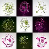 Set of modular Bauhaus 3d vector backdrops, created from geometr. Ic figures like circles and lines. For use as advertising poster or banner design. Perspective Stock Image
