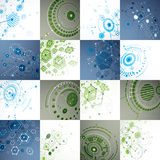 Set of modular Bauhaus 3d vector backdrops, created from geometric figures Royalty Free Stock Photos