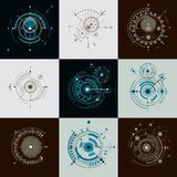 Set of modular Bauhaus vector backdrops, created from geometric. Figures like circles and lines. Best for use as advertising poster or banner design. Abstract Royalty Free Stock Photography