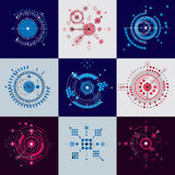 Set of modular Bauhaus vector backdrops, created from geometric. Figures like circles and lines. Best for use as advertising poster or banner design. Abstract Royalty Free Stock Images
