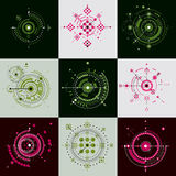 Set of modular Bauhaus vector backdrops, created from geometric. Figures like circles and lines. Best for use as advertising poster or banner design. Abstract Stock Images