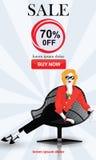 Set mody sprzedaży sztandary royalty ilustracja