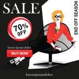 Set mody sprzedaży sztandary ilustracja wektor