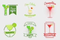 Set mojito, margarita, pina colada i kosmopolita koktajli/lów logowie, etykietki ilustracja wektor