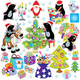 Set with mole preparing for christmas. Set with cartoon mole preparing the house for christmas and new year, isolated pictures for little kids Royalty Free Stock Photos