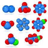 Set of molecules Royalty Free Stock Photos