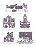 Set of Monaco famous architecture in thin line. Monaco architecture landmarks in thin line. Isolated building of oceanographic museum, Saint Charles church and vector illustration