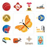 Set of monarch butterfly, ap, linen, antelope, toucan, under construction, french bulldog, sagittarius, spartan shield icons. Set Of 13 simple editable icons Royalty Free Stock Photos